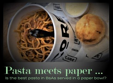 Core Buenos Aires pasta served in a paper bowl