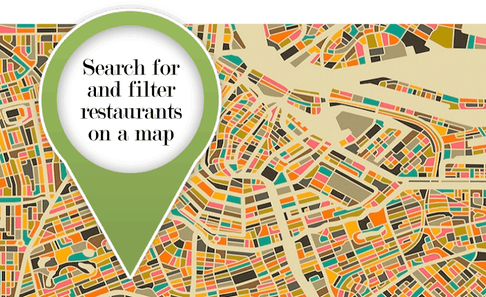 Search for and filter restaurants on a map