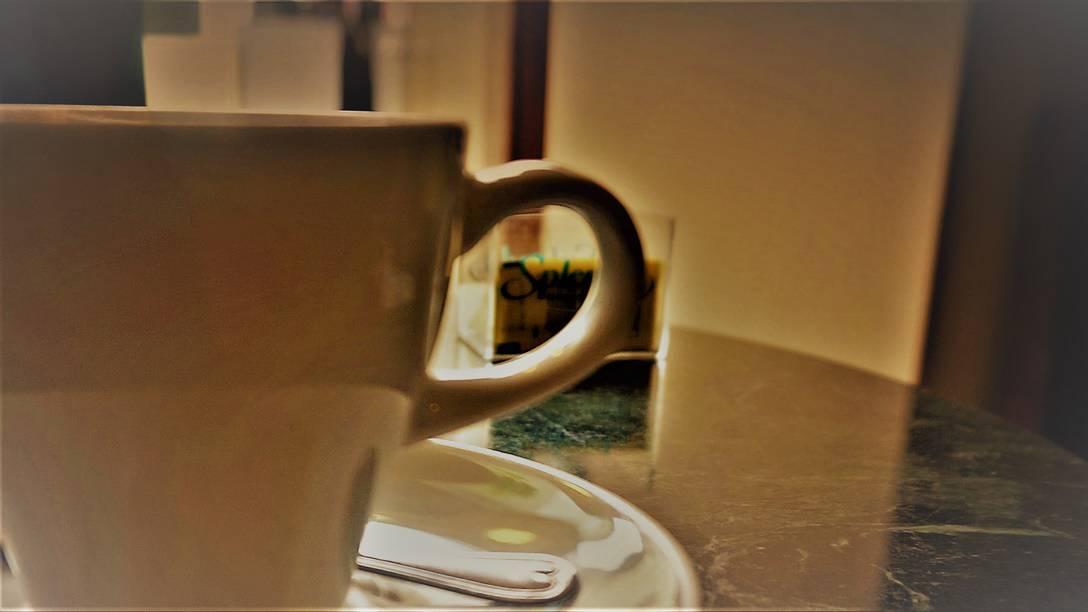Enjoying a cuppa Joe at Arabica