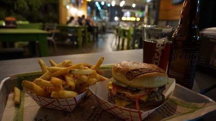 A Burger at Burgerfi Santa Fe
