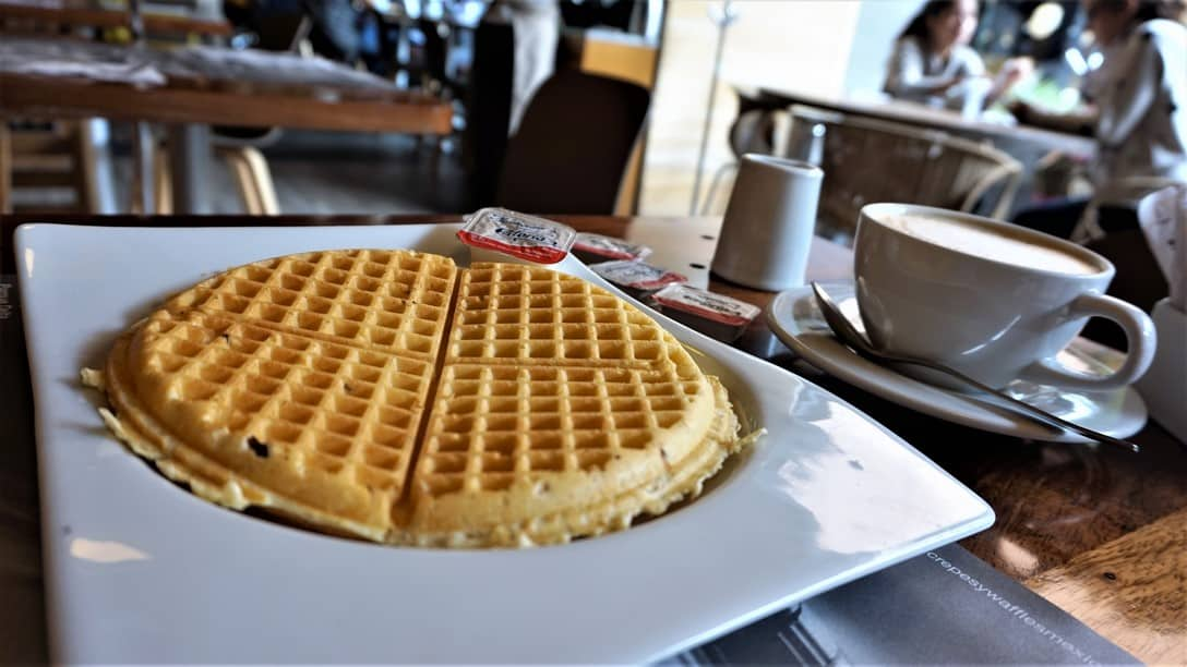 Crepes and Waffles with a cup of Coffee