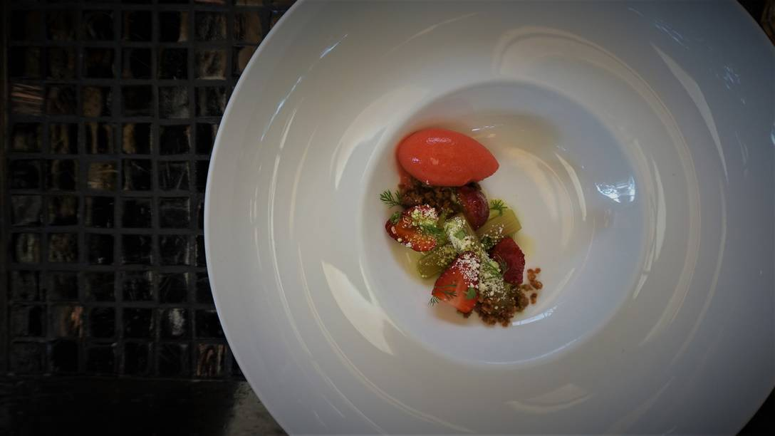 Ocosingo Ice Cream with Strawberries and Rhubarb at Sud 777