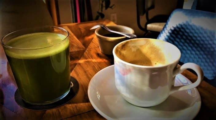 Coffee and a Green Elixer at Belmondo